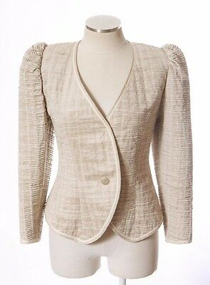 Vtg 90s JEANNE MARC Tan Beige Gathered Ruched Linen Blend Blazer Jacket Petite S