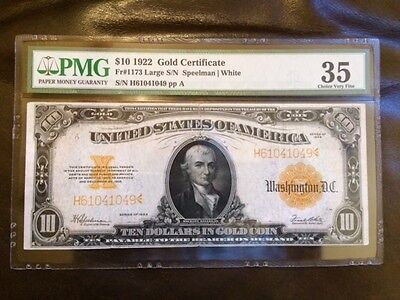 $10 1922 Gold Certificate PMG Choice Very Fine 35 Excellent Color