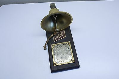 Vintage Schlitz Beer Ship's Bell Time Watch Advertising Wall Hanging Sign Plaque