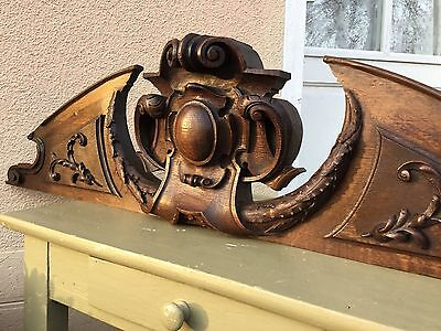 Antique French Oak Panel Large Pediment Cornice Architectural Salvage