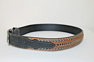 NOCONA Brown Black Leather Horsehair Men's Western Belt Size 32 ~ New