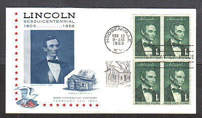 Us Fdc 1959 Lincoln Sesquicentennial 1C Lincoln's Birthplace First Day Cover Ky