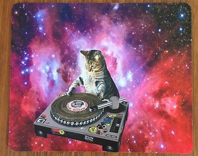Space DJ Felix Mouse Pad 180x220x2mm Cat Lovers Gift Galaxy