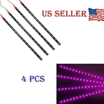 "Purple 4PCS 12V 12"" 15SMD Flexible LED Strip Light Waterproof For Car Truck Boat"