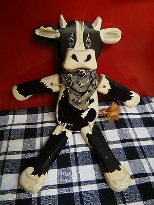 Unique Handcrafted Wooden Country Folk Primitive Jointed Cow Shelf Sitter DECOR