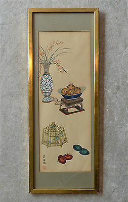 Old Chinese Framed Painting Paper Vase Offering Fruit Cricket Signed Seal Mark