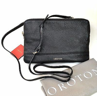 New OROTON Bueno Double Large Clutch Crossbody Bag Leather Black RRP$395