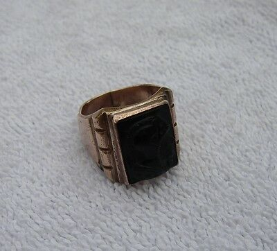 Antique CHINESE Copper Ancient WARRIOR CAMEO RING-Size 9-Well Marked