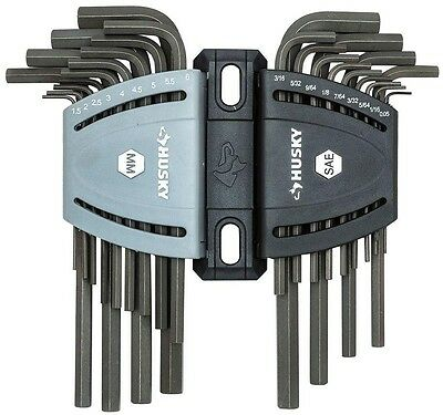 Husky Hex Key Set Long Arm Black Oxide Coating Alloy Steel Allen Wrench 26-Piece