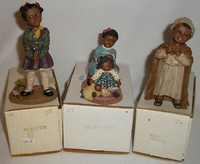 Lot Of (3) All God's Children Figurines - Tish, Addy, Thomas - Mint In Boxes!