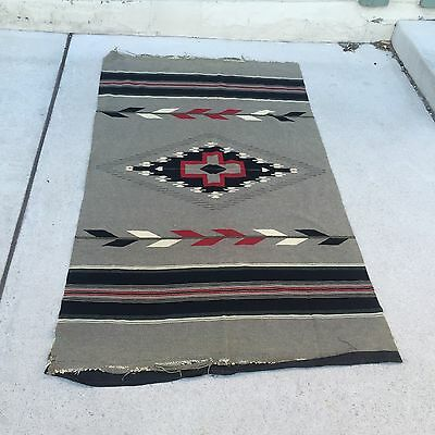Old Antique Native American Or Southwestern Navajo Or Chimayo Rug Blanket
