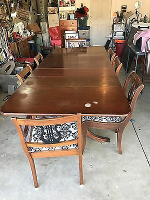 Antique Dining table with 7 Chairs 8ft Long