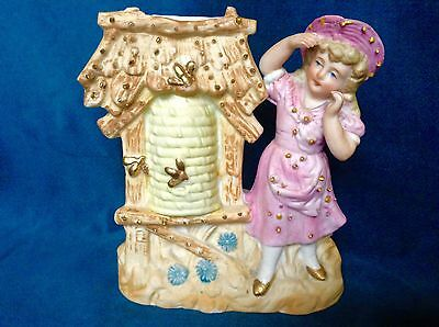 """The girl with bees. Painted bisque. """"3371"""" impressed. Vintage Germany."""