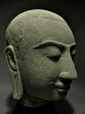 Antique Sculpture Khmer Sandstone Head Buddha King Jayavarman Figure 'bayon' Art