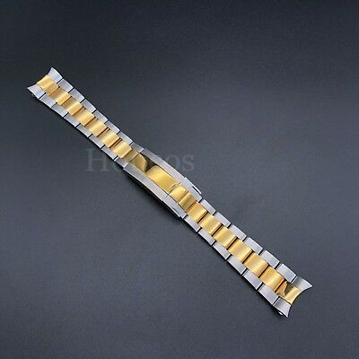 20MM Oyster Watch Band Bracelet Shiny Brust Two Tones Fits For Rolex Submariner