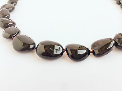 Genuine Baltic Amber Necklace Dark Cherry Colour Handmade Natural Amber beads