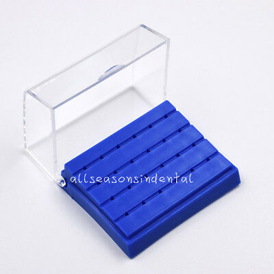 24 Holes Dental Burs Drill  Holder Stand Block Disinfection Case Plastic Blue