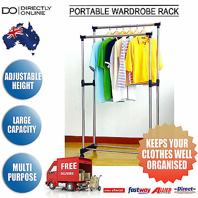 Portable Wardrobe Clothes Rack Garment Hanger Storage Free Standing New