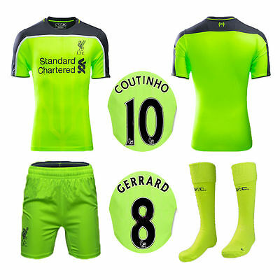 2017 Green Second Away Kit Football Soccer Short Sleeve for 3-14Y Kids Boys Suit