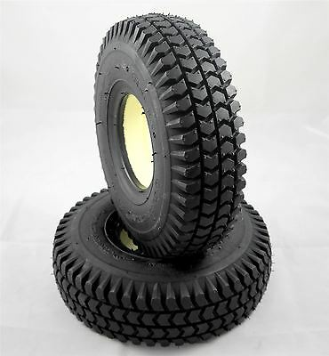Pair of 3.00-4 (260x85) (300x4) Black Solid Block Innova Mobility Scooter Tyres