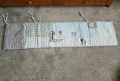 Mamas & Papas Made With Love cot bumper boys animals bedding bed tie blue