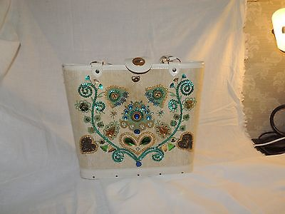 Vintage 1960's ?  PURSE Enid Collins Style With Beads And Jewels