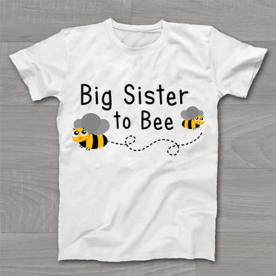 Big Sister to Bee - Girls New Arrival Announcement - Childrens Kids T Shirt