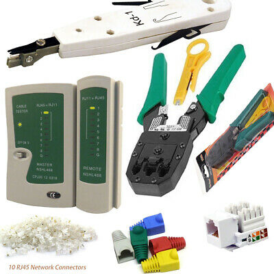 Ethernet Network Kit RJ45 LAN Cable Tester Crimping Punch Tool Connectors Boots