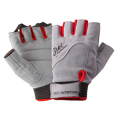 Trec Nutrition Womens Classic Gym Exercise Fingerless Gloves With Straps Grey