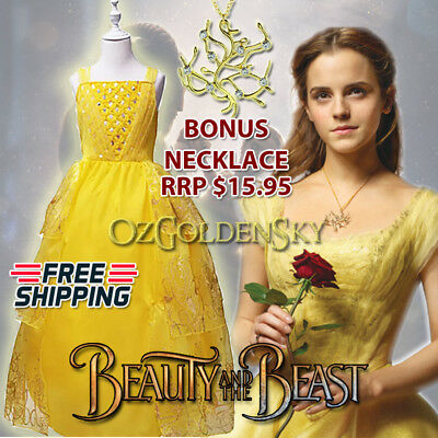 Girls Princess Belle Beauty and the Beast Disney Movie 2017 Costume Dress Up