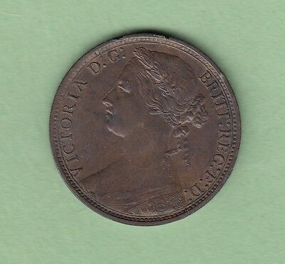 1876-H Great Britain One Penny Copper Coin - Queen Victoria - EF+