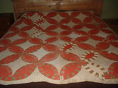 Antique Vintage Red & Cream Quilt  1890's - 1900  Solid Colors
