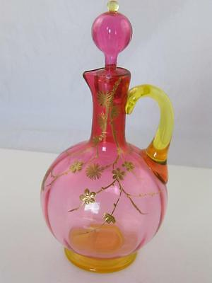 Antique Cranberry & Uranium Glass Jug Gilt Decoration