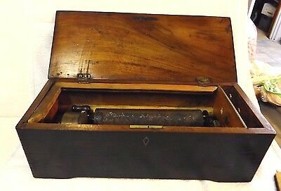 Antique Wooden Music Box - Still Plays!  Walnut Wood - Instructions on Bottom