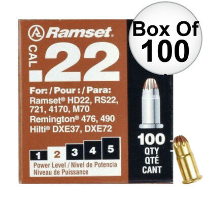 "Box of 100 #2 ""Brown"" 22 cal Single Shot Loads Ramset 22CW New"