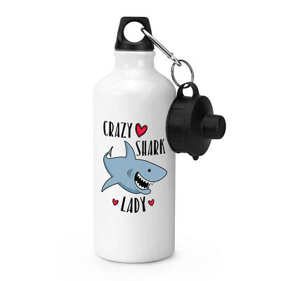 Crazy Shark Lady Sports Drinks Water Bottle