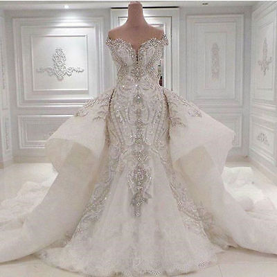 New Luxury Ivory/White Wedding Dress Bridal Gown Custom Size 8 10 12 14 16+++