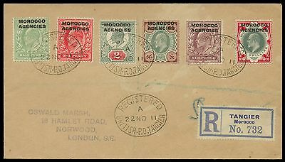 Morocco Agencies 1911 Registered cover to Oswald Marsh. E1557 318865
