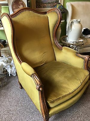 French Salon Chair Armchair Antique Vintage Wingback Chair 20th Century