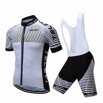 TELEYI Men Summer Cycling Jersey Bicycle Short Sleeve and Padded Bib Shorts Suit