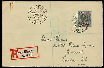 1915 Gold Coast 2/- 6d. Registered cover, Lome to London dated 24/8/2015. E1554
