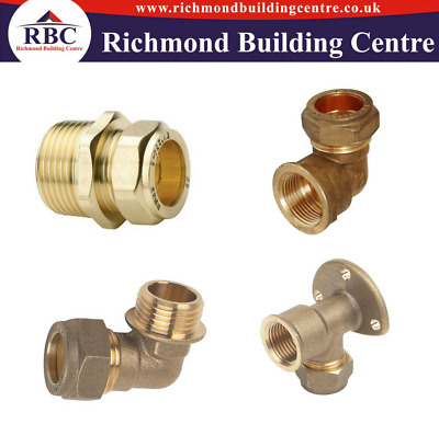 Compression Plumbing Fittings Elbow Male, Female, Straight, Wall Plate 15 X 1/2