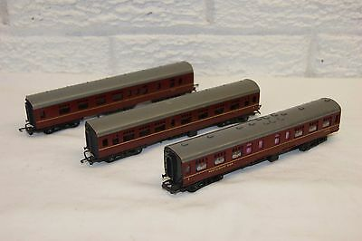 TT gauge 3mm GOOD/EXCELLENT 3x Triang Mainline Coach CompBrake Restaurant Maroon
