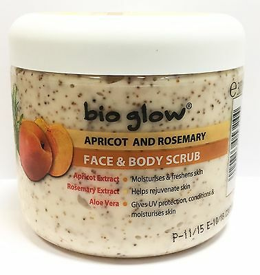 Bio Glow Apricot And Rosemary Face & Body Scrub Natural Plant Extract 300ml