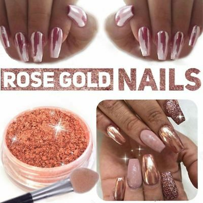 ROSE GOLD NAILS POWDER Mirror Chrome Effect Pigment Nail Art Dust UK SELLER