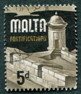 MALTA 1970 5d multicoloured SG337b used NG Fortifications a #W18