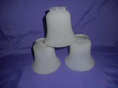 "3 White Frosted Ribbed Glass Replace Ceiling Fan Light Shade Globe 2 1/8"" Fitter"