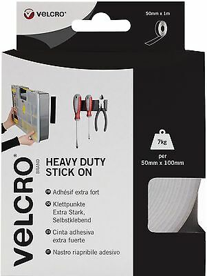 VELCRO Brand Heavy Duty Stick On Tape - 50 mm x 1 m, White