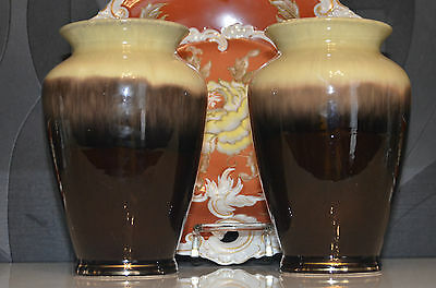 2 VASES EN CERAMIQUE EMAILLE WEST GERMANY style ART DECO VERS 60's