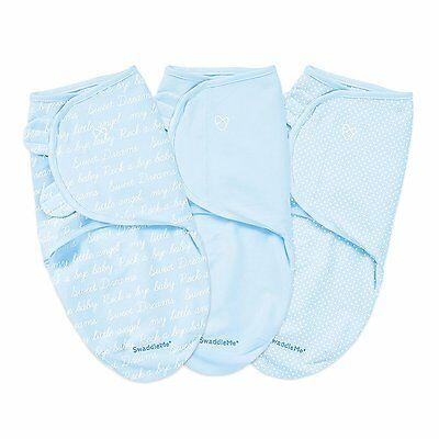 Summer Infants SwaddleMe Original Swaddle 3 Pack, Blue Cursive, Small